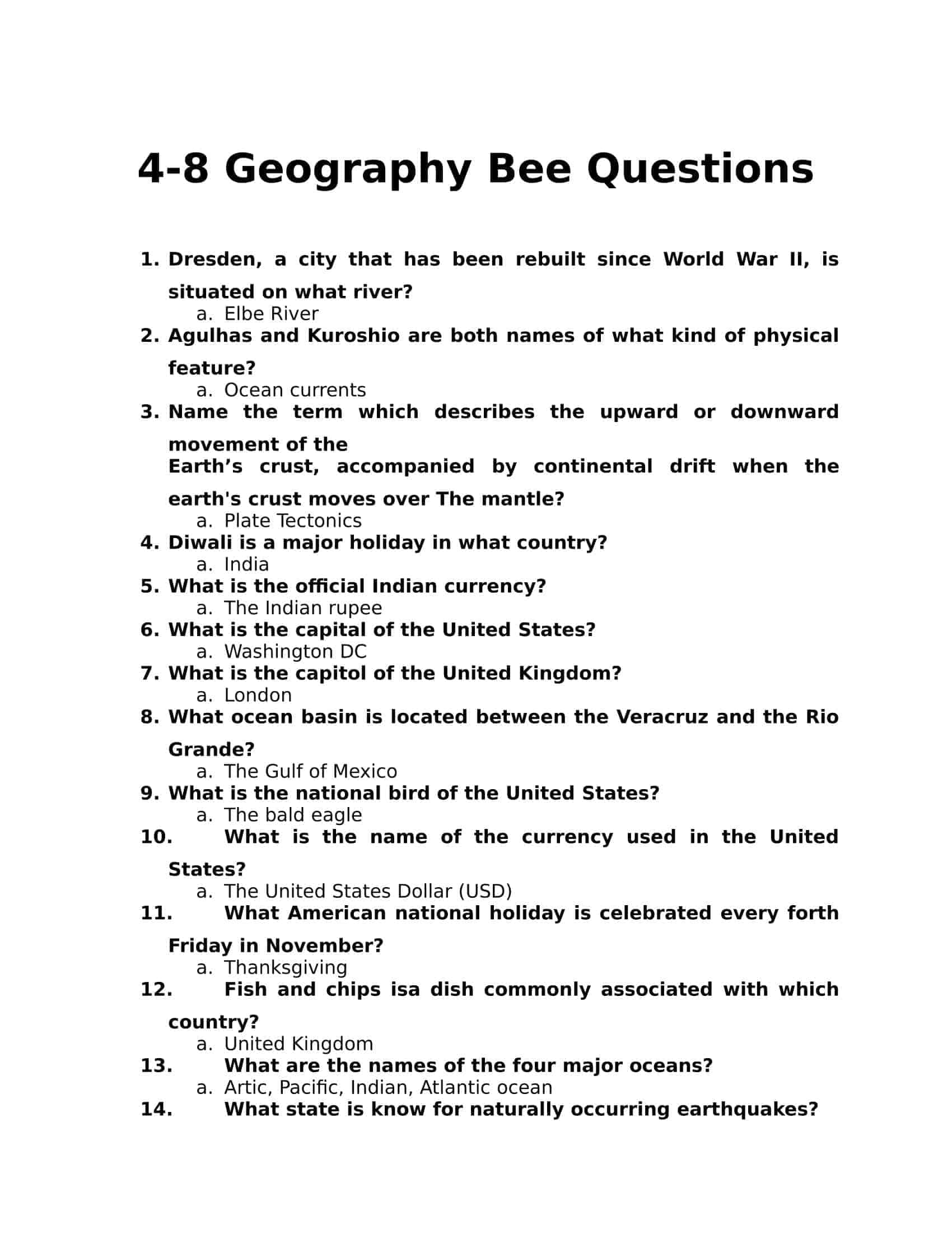 4-8 Grade Geography Bee